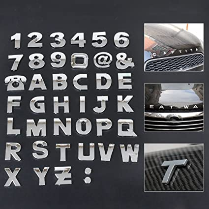 New silver 3d car diy metallic alphabet letter number symbol emblem badge decals stickers for vw