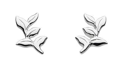 2ec1a0de0 Dew Sterling Silver Small Leaves Stud Earrings 48024HP: Amazon.co.uk:  Jewellery