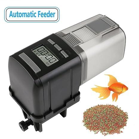 RCruning-EU Alimentador Automático Acuario de Peces Comedero Peces Automático con Pantalla LCD y el