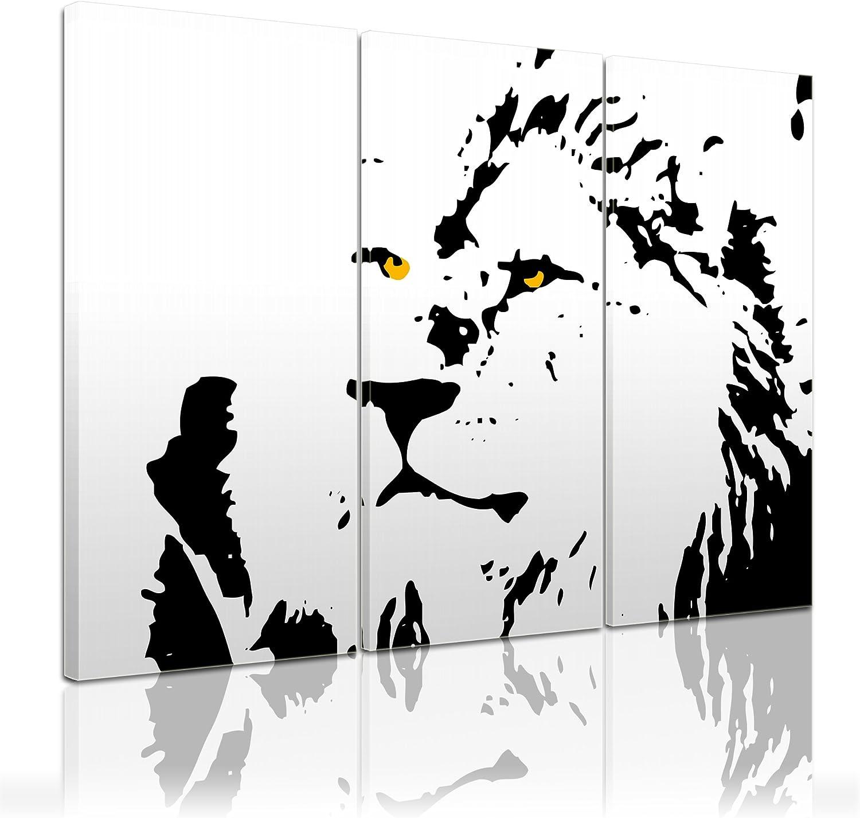 Bilderdepot24 Bastidor Imagen - Cuadros en Lienzo León (Street Art) 150x90cm 3 Partes - Made in Germany!: Amazon.es: Hogar
