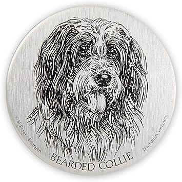 Schecker Selbstklebende Silberfarbene Metallplaketten Bearded Collie Bearded Collie Wetterfest Autoaufkleben Esser Haustier