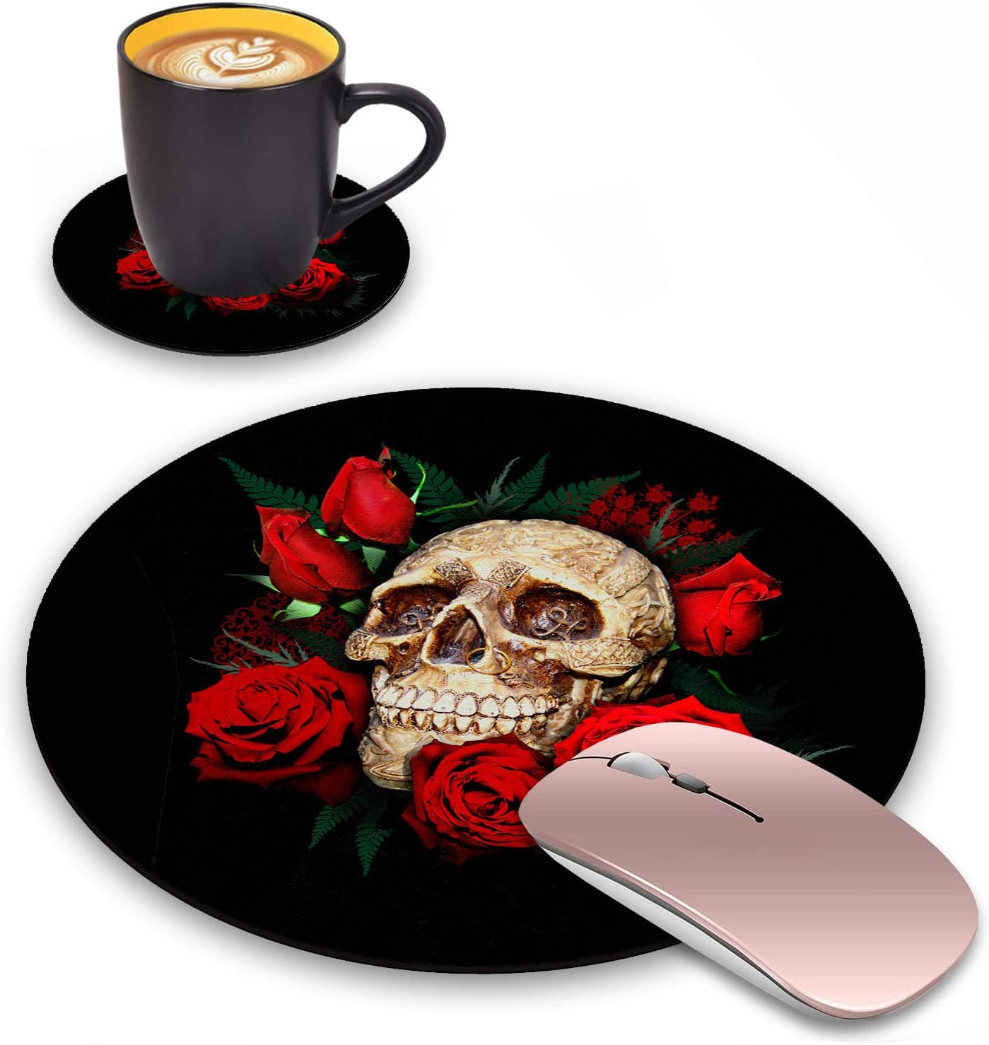 Log Zog Round Mouse Pad with Coasters Set, Skull Red Rose Design Mouse Pad Non-Slip Rubber Mousepad Office Accessories Desk Decor Mouse Pads for Computers Laptop