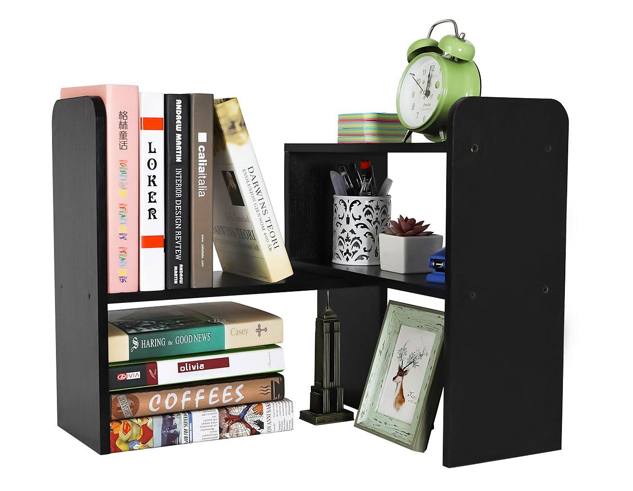 PAG Desktop Bookshelf Adjustable Countertop Bookcase Office Supplies Wood Desk Organizer Accessories Display Rack, Black by PAG