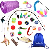 Koolbunjil 30 PCS Assorted Unique Collection Cat Toy set Including a Storage Bag – Cat Tunnel - Colourful Fluffy Mouse…