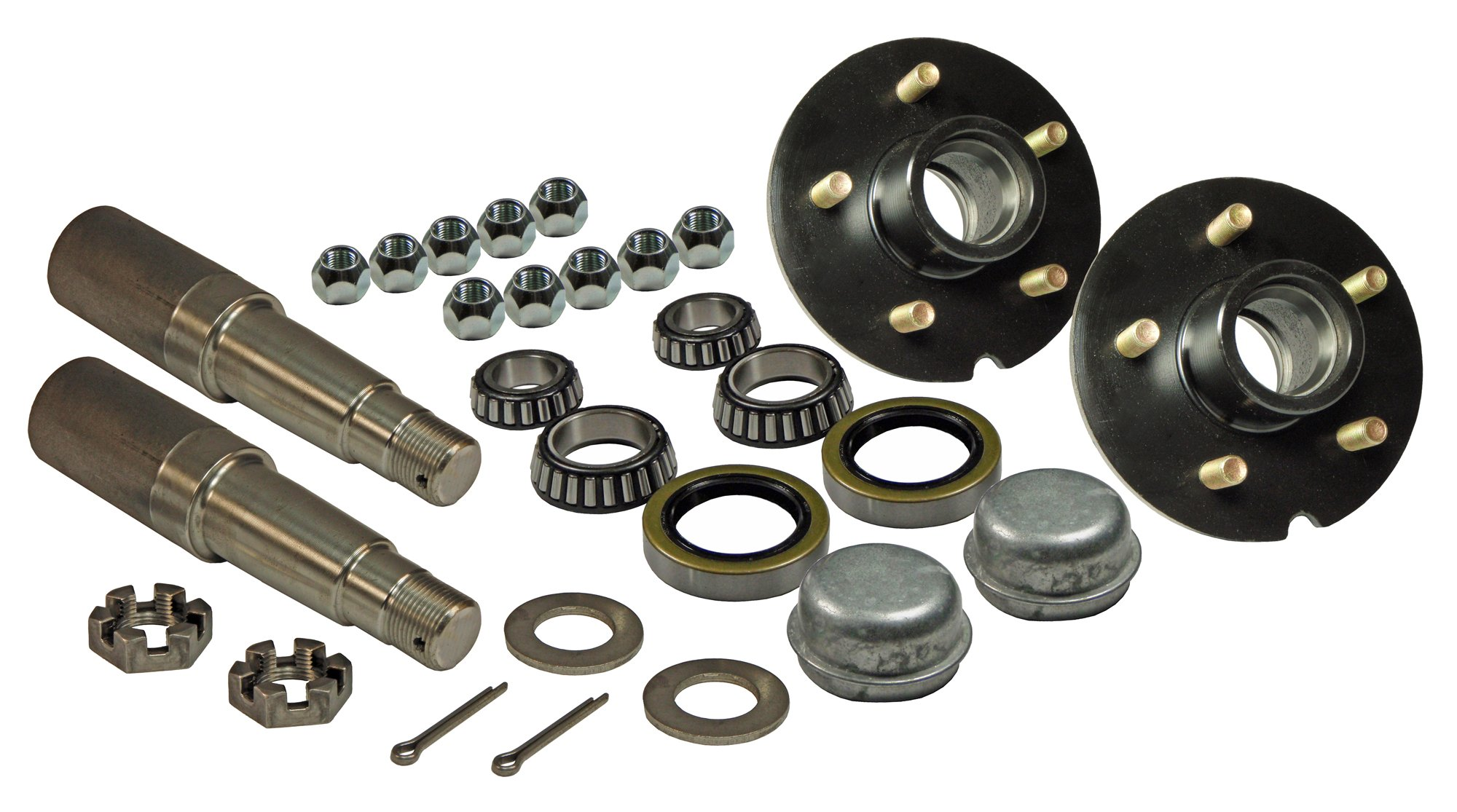 Rigid Hitch Pair of 5-Bolt On 4-1/2 Inch Hub Assembly (AKRD-3500545) Includes (2) 1-3/8 Inch to 1-1/16 Inch Tapered Spindles & Bearings by Rigid Hitch