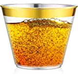 FeiYen Gold Plastic Cups For Party Decorations, 100 x 9 Oz Clear Disposable Cups Old Fashioned Tumblers, Elegant Gold Rimmed Cups For Wedding Bride Shower, Graceful Party Cups With Gold Rim