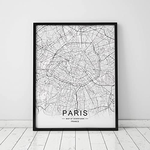 Amazon.com: Paris City Downtown Map Wall Art Paris Street Map Print ...