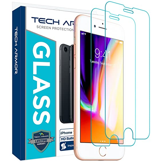 watch 2328e fc70a Tech Armor Apple iPhone 6 Plus/6s Plus, iPhone 7 Plus, iPhone 8 Plus  Ballistic Glass Screen Protector [2-Pack]
