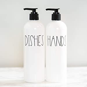 Heartland Lettering Hand and Dish Soap Dispenser Set for Kitchen, Farmhouse Kitchen Counter Decor