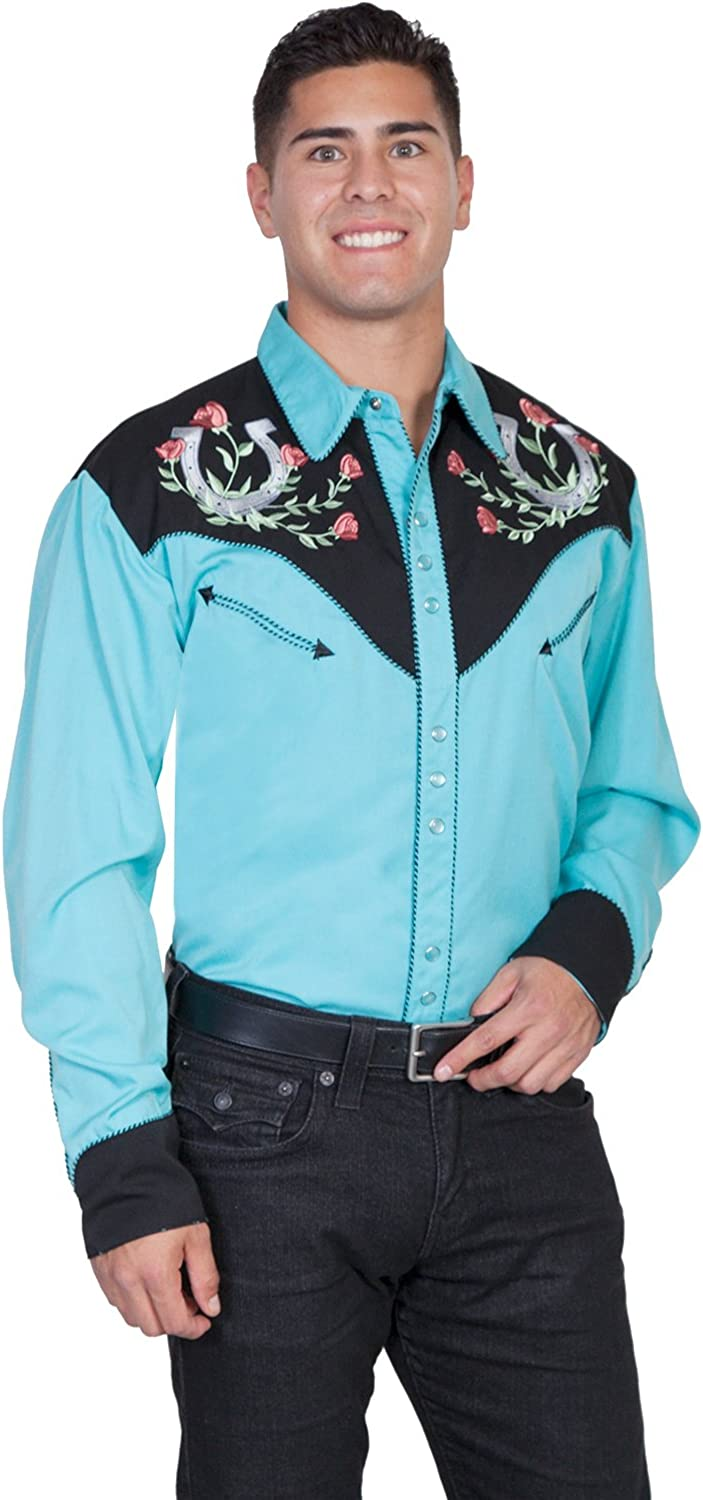 P-660X Tur Scully Mens Rose and Horseshoe Embroidered Retro Western Shirt Big Tall