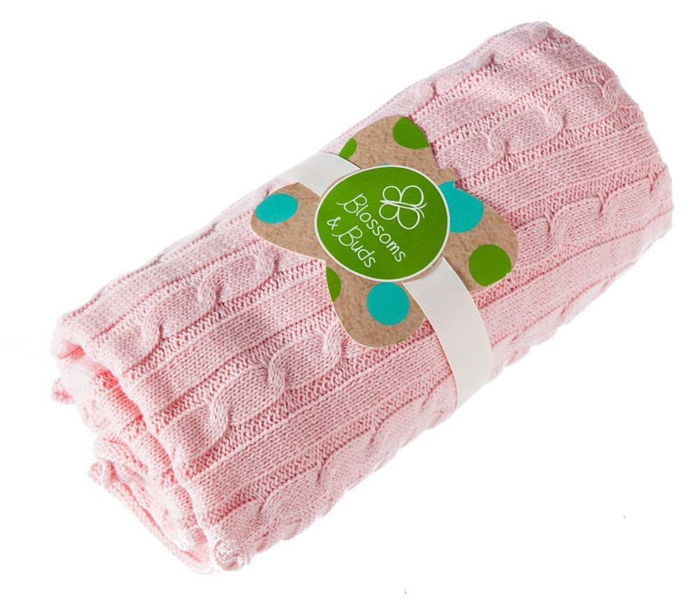 Pink Everyday Cable Knit Baby Blanket by Blossoms & Buds