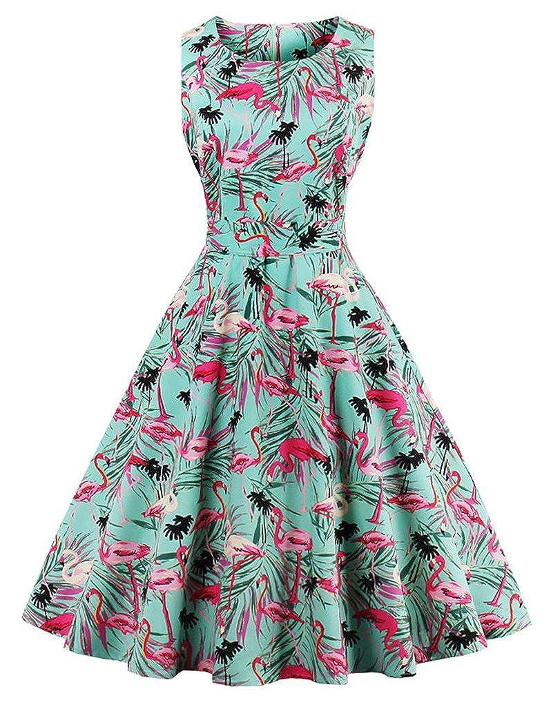 TALLA L. FAIRY COUPLE 50s Vestido de Partido Floral Retro del Oscilación del Cóctel del Vintage con el Arco DRT017 Flamingo Floral