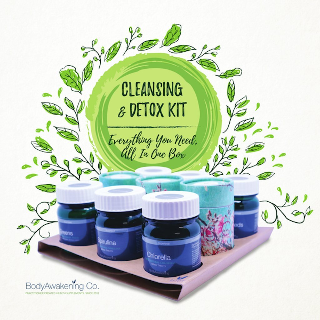 Detox and Cleanse Kit: True Greens, Spirulina, Chlorella, Laxative Tea, Herbal Tea, Psyllium Seed Husks, Raw Honey, Flax Seeds - Detoxify, Cleanse, and Lose Weight - Instructions & Guidance Included