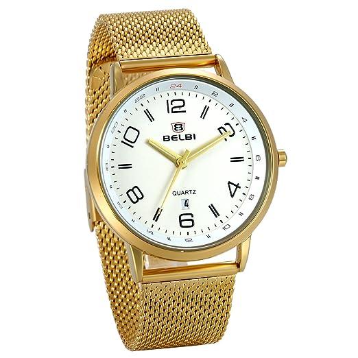 JewelryWe Reloj Dorado para Hombre, Blanca Esfera Grande Números Arábigos, Color Oro Correa de Acero Inoxidable Reloj de Caballero Con Calendario: ...
