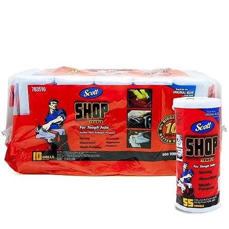 Scott Shop 10 Paquetes de 55 Toallas por Rollo, tamaño de Hoja de 11 x