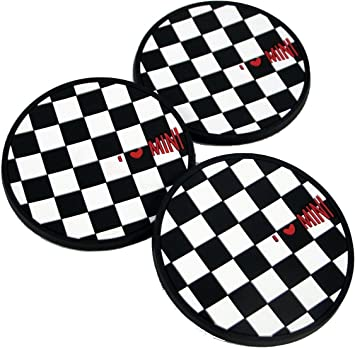 iJDMTOY 73mm Black//White Checkered Checkerboard Pattern Soft Silicone Cup Holder Coasters For MINI Cooper R55 R56 R57 R58 R59 Front Cup Holders 2