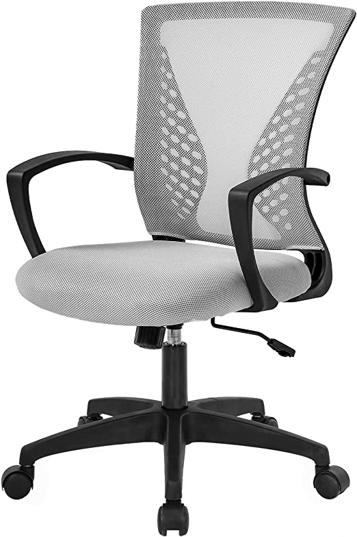 Amazon Com Home Office Chair Mid Back Pc Swivel Lumbar Support Adjustable Desk Task Computer Ergonomic Comfortable Mesh Chair With Armrest Grey Furniture Decor