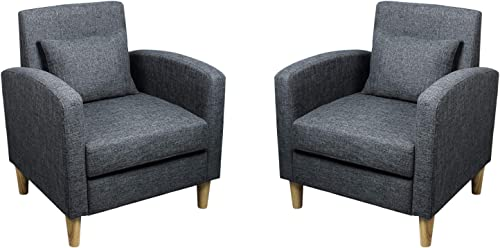 Modern Accent Chairs Set of 2 Fabric Armrest Chair Mid-Century Single Sofa Couch