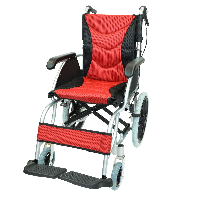 ケアテックジャパン 介助式 アルミ製 車椅子 CA-42SU ハピネスプレミアム -介助式- (レッド) B01MZAE806 レッド レッド