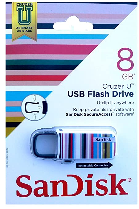 SanDisk Cruzer UTM 8 GB USB 2.0 Flash Drive, Color Blanco, Rayas ...