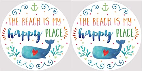 The Beach Is My Happy Place Whale With Red Heart Car Coasters Set Of 2 Coasters