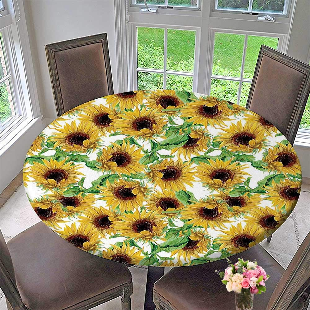 """Mikihome Chateau Easy-Care Cloth Tablecloth Sunflower Dried Sun Wild Branch Herbarium Artistic Design Fine Art for Home, Party, Wedding 31.5""""-35.5"""" Round (Elastic Edge)"""
