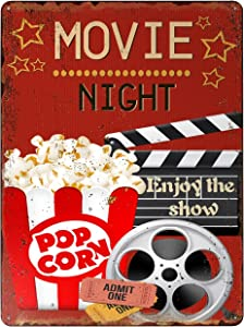 TESPOPOLA Wall Hanging Plaque Wall Decor Poster Art Sign Movie Night Enjoy The Show and Popcorn for Cinema Theater Cafe Bar Pub Beer Vintage Sign 11.81 x 7.87 inches 4 Holes