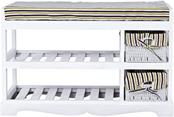 GJH One Padded Shoe Storage Bench Organizer Rack Shelf Unit Entryway  Hallway Bench White 2 Basket