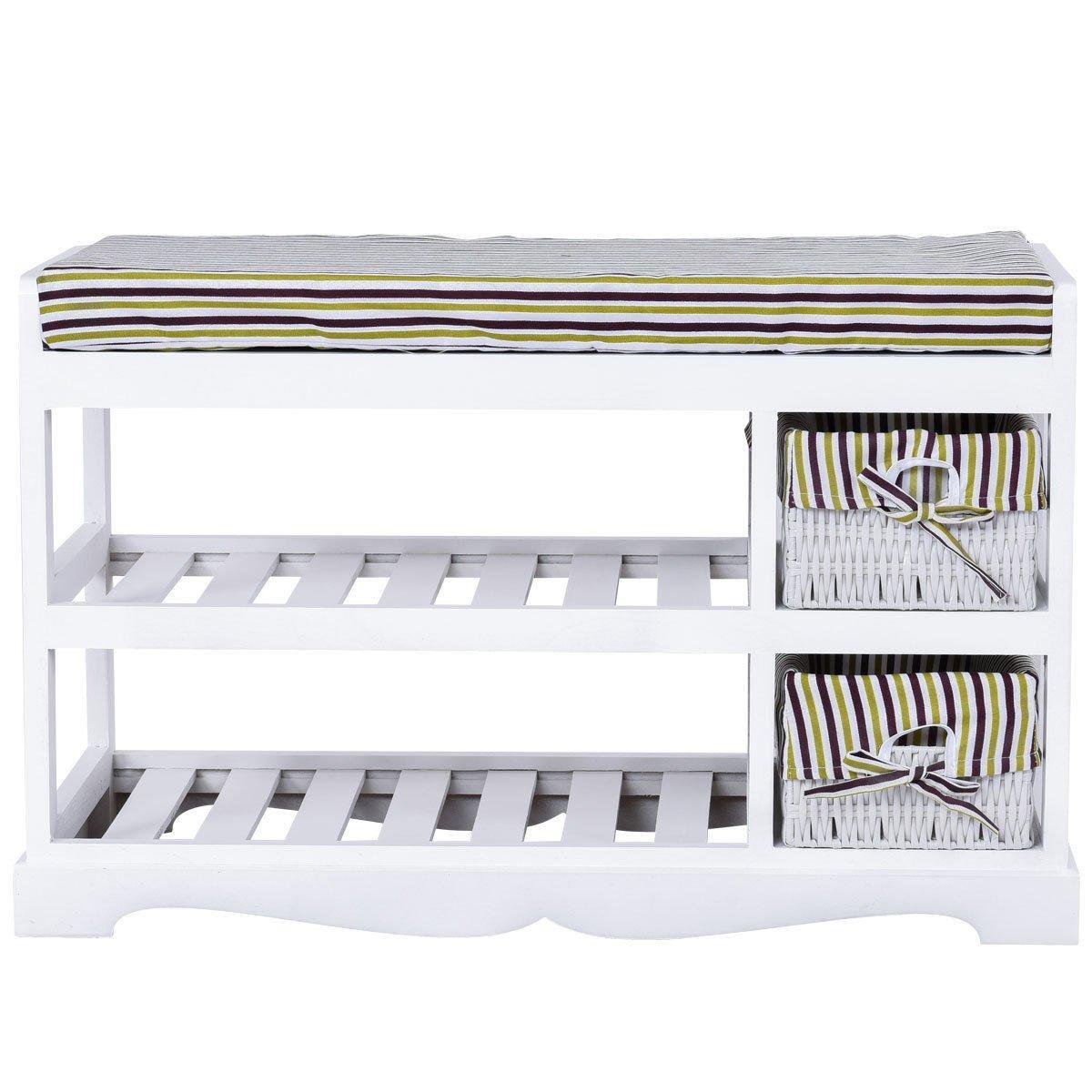 GJH One Padded Shoe Storage Bench Organizer Rack Shelf Unit Entryway Hallway Bench White 2 Basket 28
