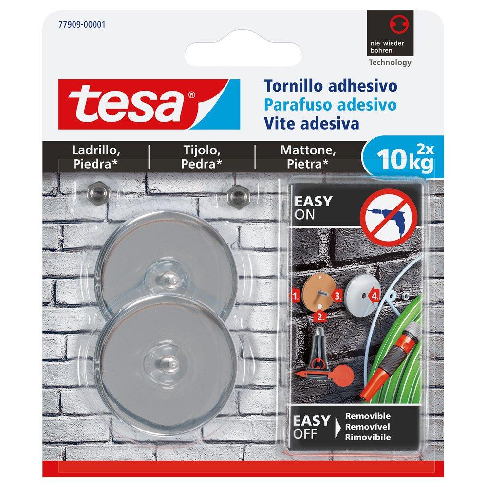 tesa 77909-00001-00 Tornillo Adhesivo Redondo para ladrillo y Piedra 10 kg, Set de 2 Piezas Tesa Tape
