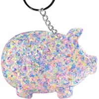 Sanwooden Interesting Toy Keychain Multicolor Sequins Pig Pendant Keychain Key Ring Holder Bag Hanging Ornament Keychains