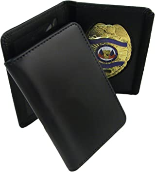 Shield 100/% Genuine Leather Universal Law Enforcement Badge Holder Wallet Case