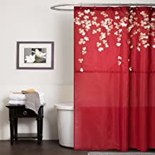 Triangle Home Fashions Lush Decor Flower Drop Shower Curtain, 72-Inch by 72-Inch, Red