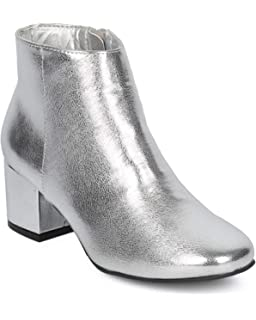 9cac720872d Alrisco Women Metallic Leatherette Round Toe Low Chunky Heel Bootie HD26