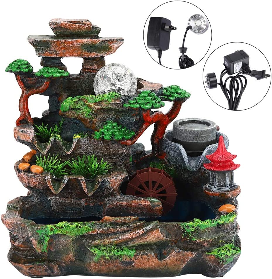 Atomizing Effect US Plug 110V Resin Desktop Fountain Simulation Rockery Decor Tabletop Fountains with Light Home Decor Resin-Rock Falls Tabletop Water Fountain