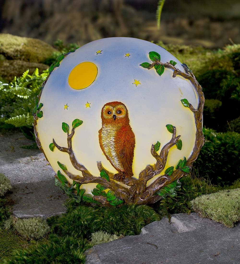 Lighted Resin Owl Globe by Wind & Weather