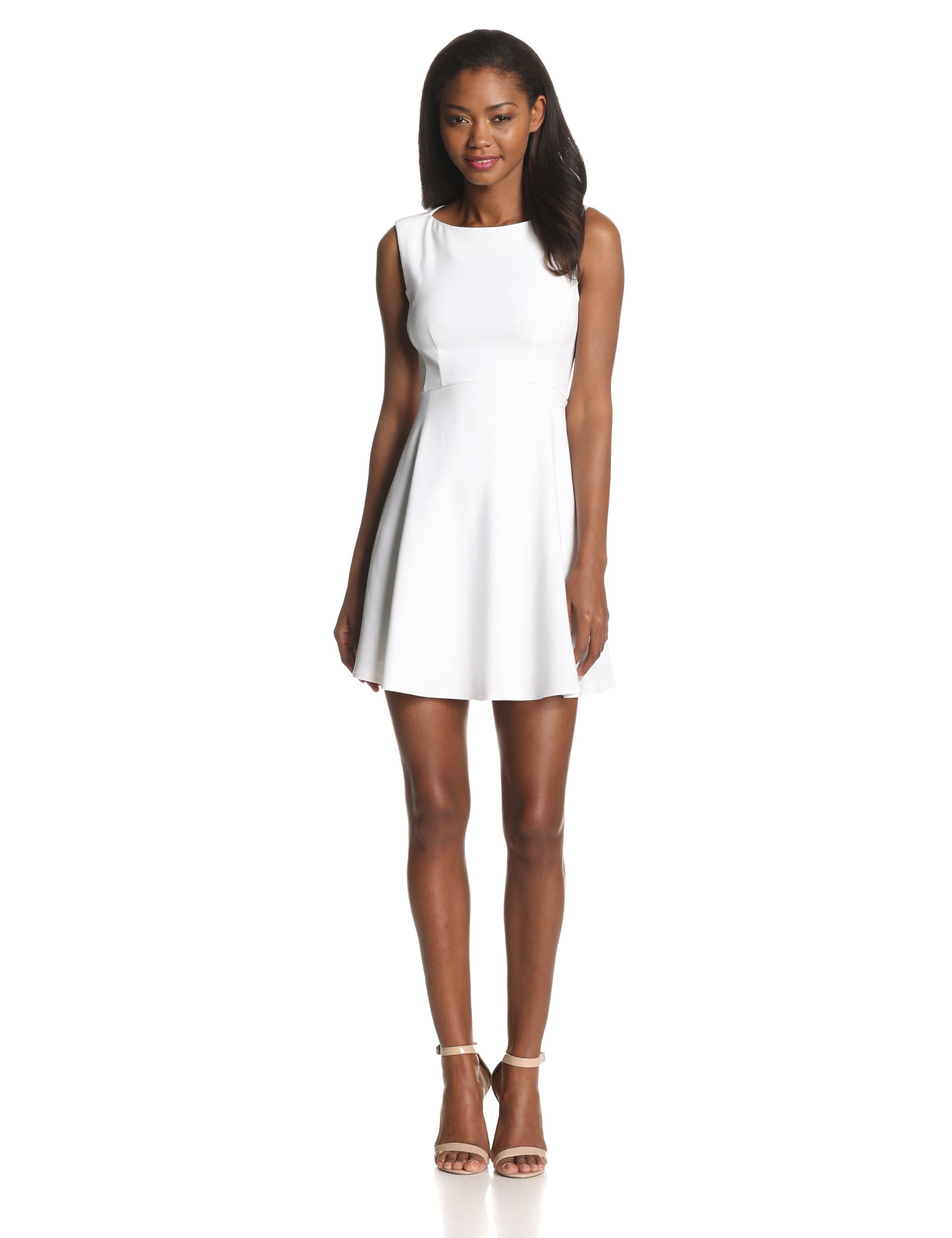 French Connection Women's Feather Ruth Classic Fit and Flare Dress, White, 6