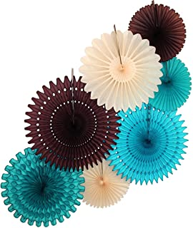 product image for Large 7-Piece Tissue Paper Party Fan Collection (Turquoise, Teal Green, Brown, Ivory - 21, 18, and 13 inches)