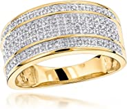 Luxurman Unique Wedding Bands 10K Gold Five Row Natural 0.4 Ctw Diamond Ring For Men