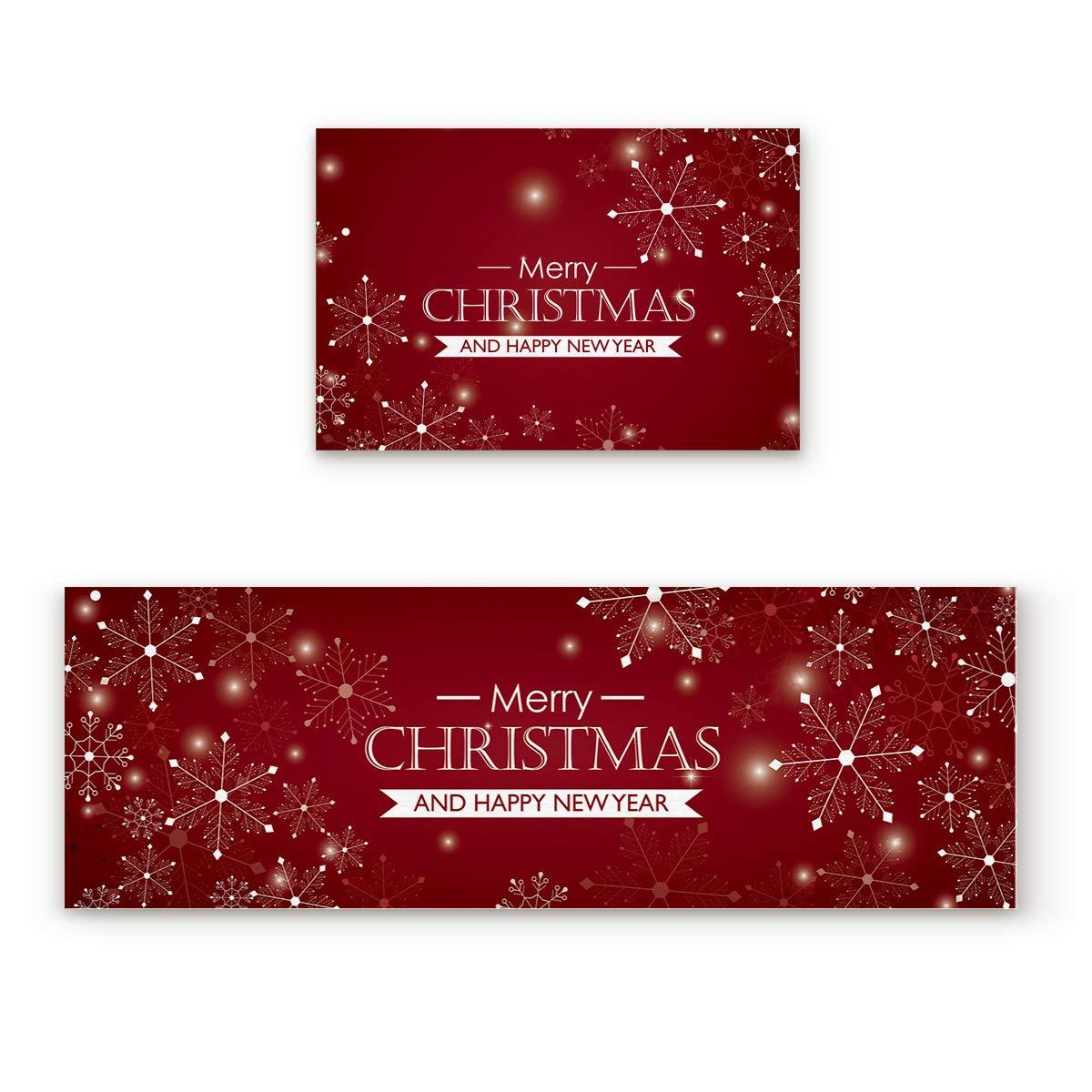 Shine-Home 滑り止めキッチンマット ゴム裏地 ドアマット ランナーラグセット キッズエリアラグ カーペット ベッドルームラグ メリークリスマス 新年おめでとう スノーフレーク レッド エレメント背景 2枚 23.6''W by 35.4''L + 23.6''W by 70.9''L 181009zly2pcsmatKC-SCRY00655MDDDSHO 23.6''W by 35.4''L + 23.6''W by 70.9''L Christmas-012 B07JVVLKQK