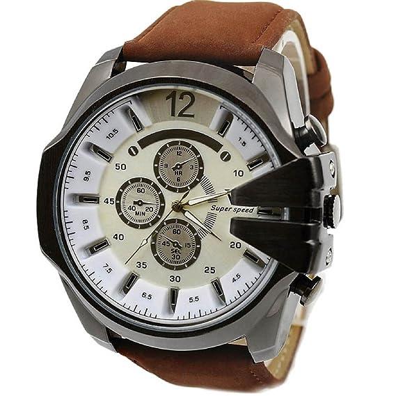 Malloom® venta caliente lujo reloj de los hombres deporte Caja de acero cuero de la PU reloj de pulsera: Amazon.es: Relojes