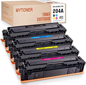 MYTONER Compatible Toner Cartridge Replacement for HP 204A CF510A CF511A CF512A CF513A Used in Color Laserjet Pro MFP M180nw M180n M154a M181 M154nw M181fw M154 (Black Cyan Yellow Magenta, 4-Pack)
