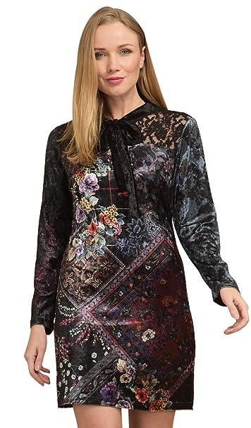 Velours Femme idees 101 Manches imprimée Longues Robe en w8xqa6x