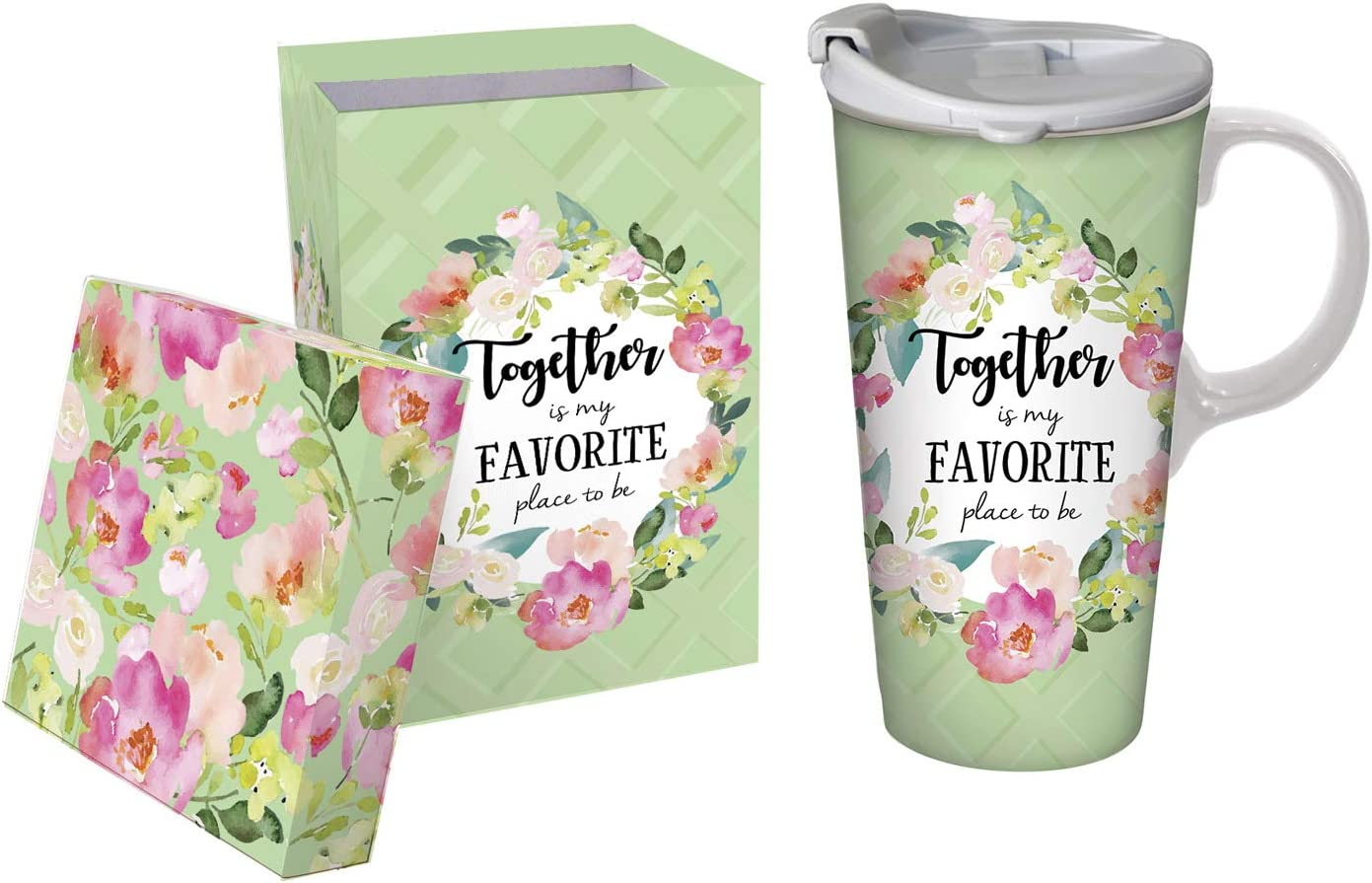 Cypress Home Ceramic Travel Cup, 17 Oz, With box, Together is My Favorite Place to Be