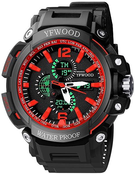 YFWW- Reloj de pulsera para hombre, resistente a los golpes, multifuncional, analógico