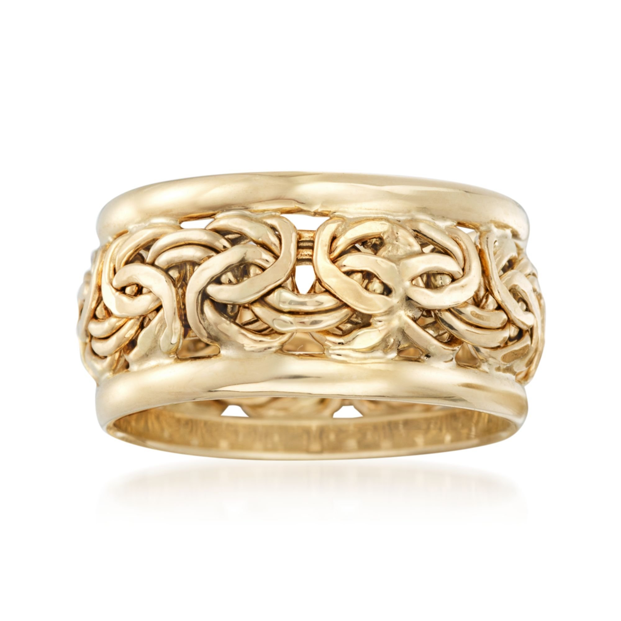 Ross-Simons 18kt Yellow Gold Bordered Byzantine Ring