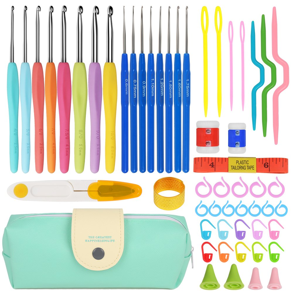 Premium Crochet Hooks Set with 53-in-1 Knitting Tools (Handle Knitting Hooks, Color Needles, Aluminum Blunt Needles, Row Counter, Counting Circular Ring and more) Crochet Sets for Best Gift Meiho Lives 4336923613