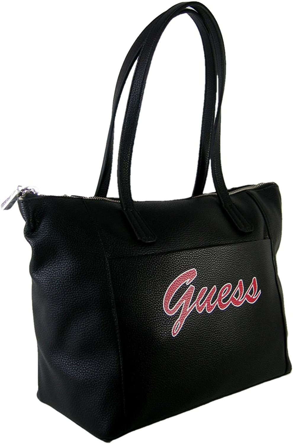 New Guess Logo Laptop Computer Tote Purse Shoulder Hand Bag Black Red