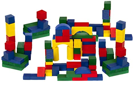 Amazon com: Panorama Wooden Bricks Kids Construction Block