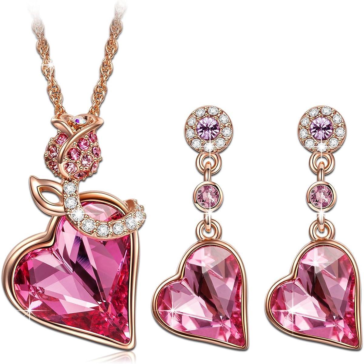 Kami Idea Conjunto de Joyería, Citas Rosadas, Pendientes y Collar, Chapados en Oro Rosa, Cristal Corazón Rosa de Swarovski, Embalaje de Regalo, Regalos para Mamá